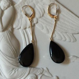 Vintage 14K YG Onyx Lever Back Drop Earrings